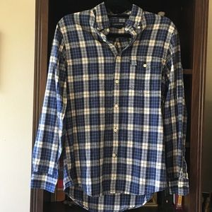 Men's Land's End Blue and Cream Flannel Button Up